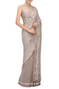 Resham & sequin hand embroidered sari set