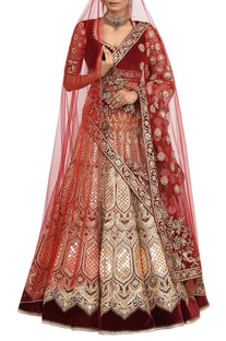 Velvet gota & zardozi embroidered bridal lehenga set