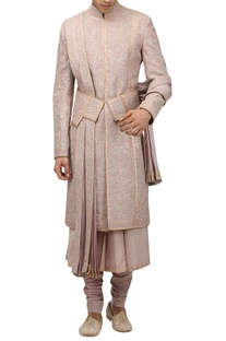Dori embroidered & silver work sherwani set