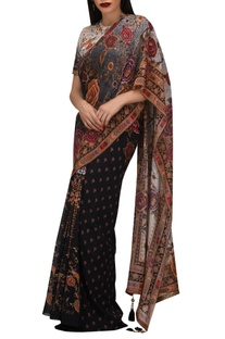 Pre-draped floral printed sari with attached blouse