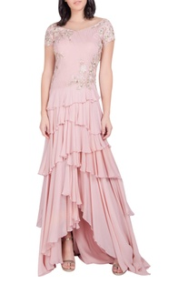 Embellished asymmetric layered gown