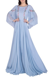 Embellished gown with bell sleeves