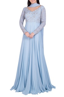Embellished pleated gown with dupatta