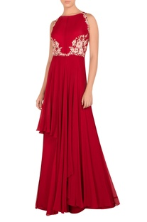 Embellished layered pleated gown
