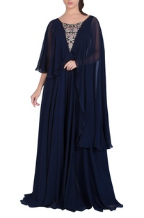 Embroidered Cape Sleeve Jumpsuit
