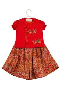 Angrakha top with printed lehenga skirt