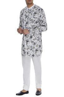 Floral print linen kurta