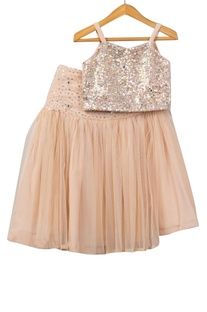 Sequin embellished top with lehenga skirt