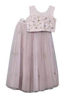 Hand embroidered top with net lehenga skirt