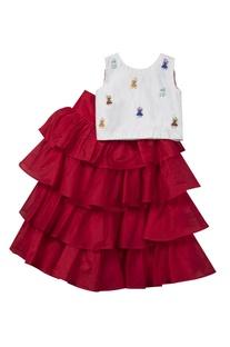 Ruffled lehenga skirt with top