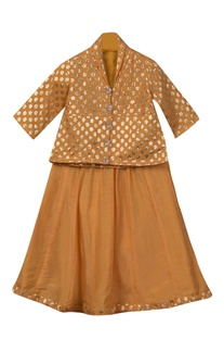 Button down top with lehenga skirt