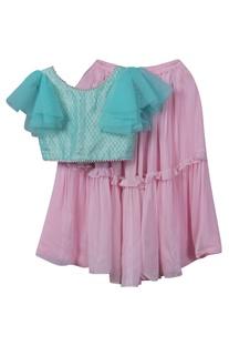 Brocade top with georgette lehenga skirt