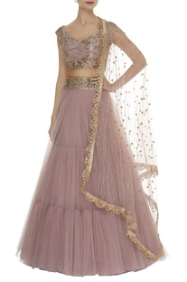 Hand embroidered blouse with tiered lehenga & dupatta