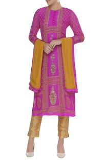 Zardozi work straight kurta with dupatta