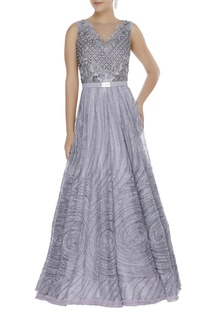 Textured gown embellished with pearl & crystals