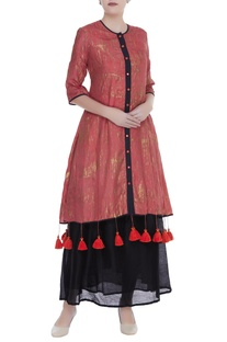 Hand painted straight fit jacket kurta