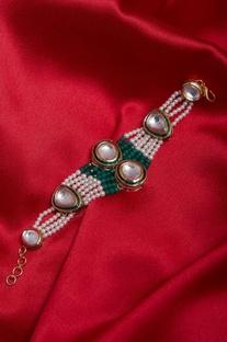 Pearl and kundan bracelet