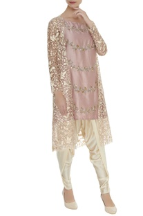 Embroidered flared kurta with dhoti pants & jacket
