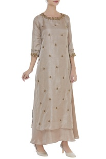 Cutwork & butti embellished layered tunic