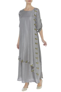 Parrot embroidered layered tunic