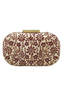Floral hand embroidered clutch box