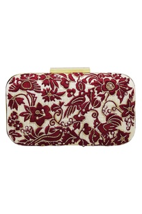 Resham Parsi gara hand embroidered clutch box