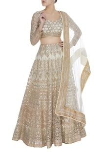 Gota & sequin embroidered lehenga with blouse & dupatta