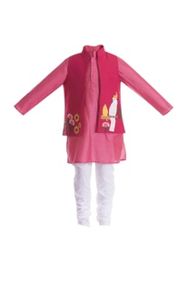 Parrot embroidered motif jacket with kurta set
