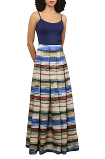 Digital print crepe skirt