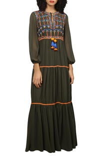 Embroidered frill maxi dress