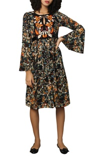 Digital printed dress with flared sleeves