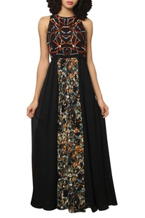 Digital printed & embroidered maxi dress