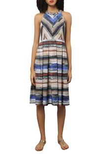 Crepe silk stripe dress