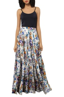 Floral printed maxi flared skirt