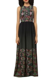 Crepe silk dress with embroidered yoke