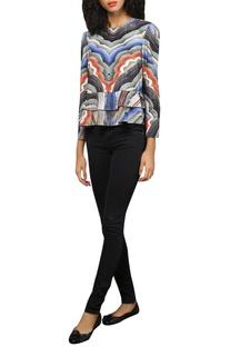 Printed blouse with swarovski work
