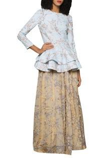 Floral patchwork peplum blouse with lehenaga skirt