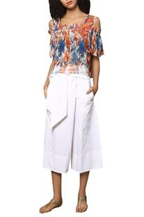 Embroidered & digital print cold shoulder blouse