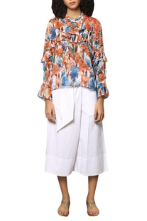 Digital printed frilly blouse