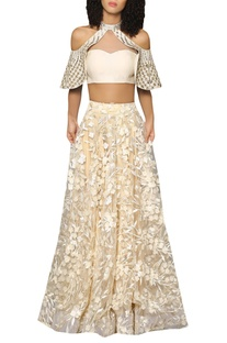 Halter bustier blouse with flared lehenga skirt