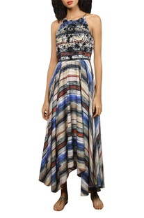 Abstract stripe pattern maxi dress