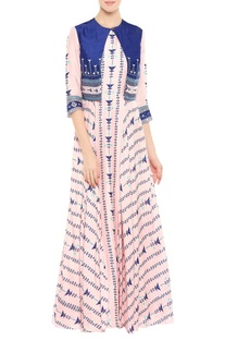 Printed maxi dress with cropped jacket
