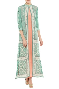 Printed long jacket with inner tunic