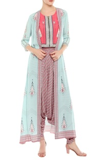 Hand embroidered crop top with printed jacket & dhoti pants