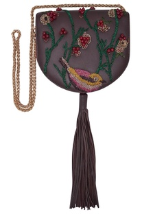 Beaded embroidered bag with tassel