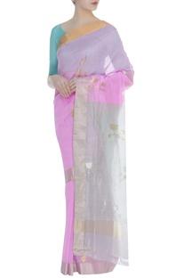 Zari lotus motif woven sari