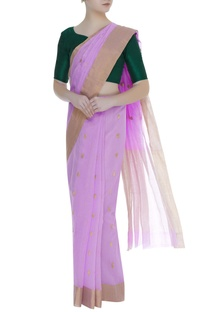 Paisley zari work chanderi sari