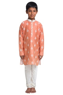 Embroidered knee length kurta with churidar