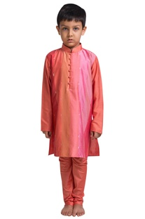 Paneled kurta with churidar