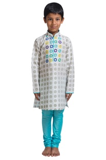 Polka dot embroidered kurta set